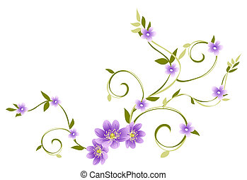 illustration drawing of purple flowers and green vine in white background
