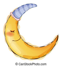 moon - illustration drawing of yellow smiling moon sleeping