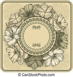 illustration., drawing., szüret, keret, kéz, agancsrózsák, vektor, virágzó, szitakötő