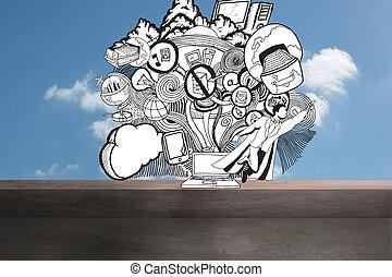 Illustration drawn on sky