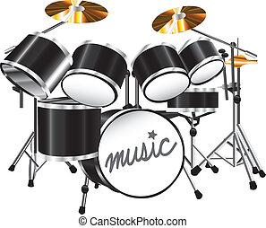 Illustration drum set on white background