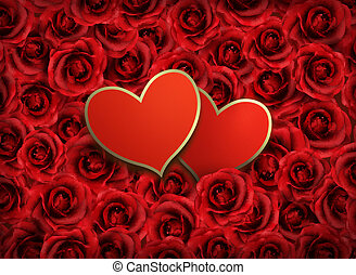 illustration., due, fidanzato, fondo., flowers., vettore, fondo, cuori, giorno, rosso