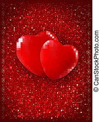 illustration., due, fidanzato, fondo., vettore, cuori, giorno, rosso