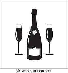 illustration., due, glasses., bottiglia, vino, champagne, lineare