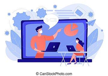 illustration., durante, vector, webinar, concepto, ...