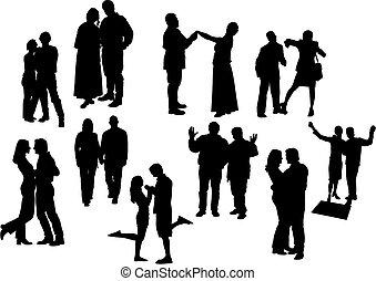 illustration., dziesięć, silhouettes., pary, wektor, czarnoskóry, biały