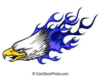 illustration Eagle Head Flame Vector Template Design - Eagle...