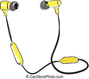 illustration., earpiece, färg, bluetooth, vektor, eller