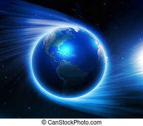 Earth on a background of space - Illustration. Earth on a...
