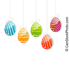 Easter colorful eggs on white background