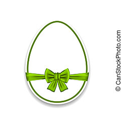 Easter egg wrapping green bow, isolated on white background
