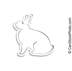 Easter greeting rabbit isolated on white background