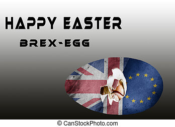 """illustration, easter map on the subject """" 1st Easter after the Brexite"""" with the flags of the EU and Great Britain. Easter egg is broken by the symbolised brexite chick"""