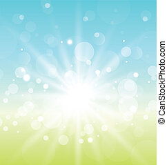 Illustration Easter nature background with lens flare - vector