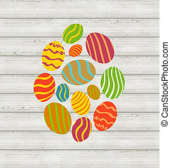 Easter ornamental eggs on wooden background
