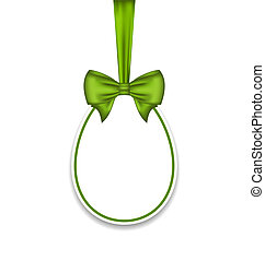 Easter paschal egg with green bow, isolated on white background