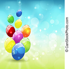 Easter set colorful eggs, holiday background