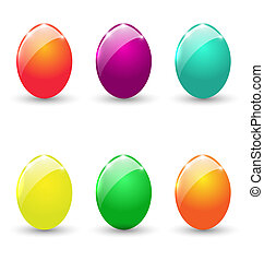 Easter set colorful eggs isolated on white background