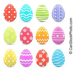 Easter set colorful ornate eggs with shadows isolated on white background