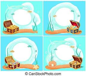 illustration, eau, poitrine, vecteur, mer, trésors