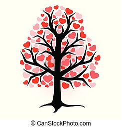 illustration ebony with red hearts on a white background