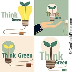 illustration., eco, ライト, concept., 木, 内側。, ベクトル, 緑, 電球, 考えなさい