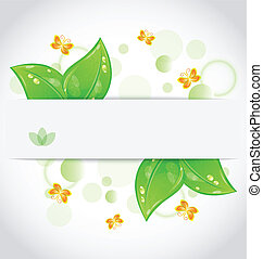 Illustration eco green leaves with with butterfly isolated on white background - vector