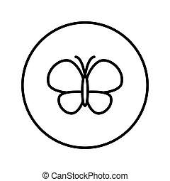illustration., editable, ライン。, ベクトル, 薄くなりなさい, icon., butterfly.