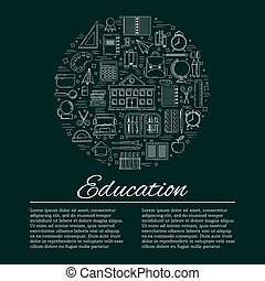 illustration, education, toile, concept., conception, école, carte