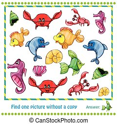 Illustration Educational Game for Children - find picture without copy