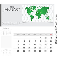 illustration., eenvoudig, january., kalender, vector, 2015