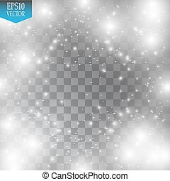 illustration., effect., ライト, きらめく, ベクトル, dust., クリスマス, 雲, 白熱