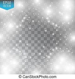 illustration., effect., lätt, glittrande, vektor, dust., jul, moln, glöd