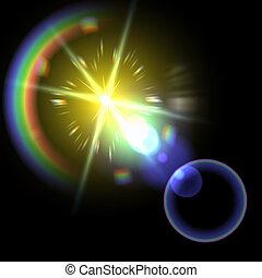 illustration., effect., licht, vector, vuurpijl, bijzondere