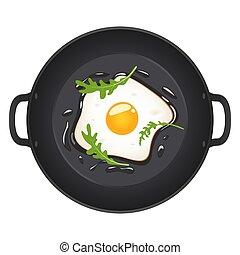illustration., eitjes, bovenzijde, vrijstaand, arugula, achtergrond., vector, het braden, witte , gebraden, overzicht., pan