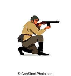 illustration., ejército, soldado, vector, soviético, caricatura