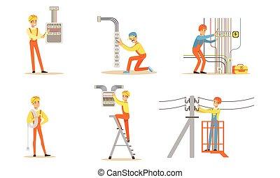 illustration., electricista, vector, uniforme, working.