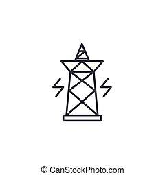 illustration., elektryczność, concept., symbol, znak, wektor, pylon, kreska, ikona, linearny