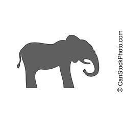 Elephant Silhouette Isolated on White Background
