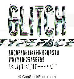 illustration., elferdítés, kép, hanyatlás, nyomdai, glitch, vektor, digitális, betűtípus, adatok