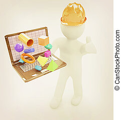 illustration., emberek, szüret, laptop, -, capabilities, ajándékoz, kicsi, konstruál, style., 3