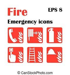 illustration., emergencia, fuego, icons., vector, exit.