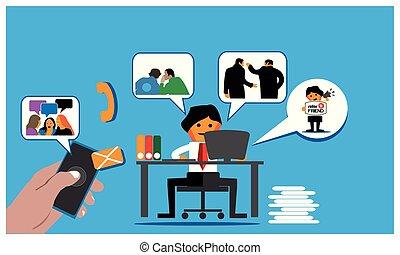 illustration., employé bureau, vecteur, sur, programme, internet., fond, toile, inviter, plat, référence, amis