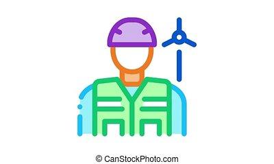 illustration, employé, protection, techniciens, vent, icône, énergie