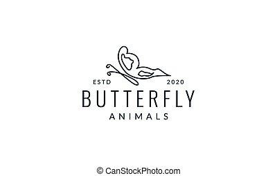 illustration, enastående, fjäril, logo, fodrar, nymodig, vektor, design