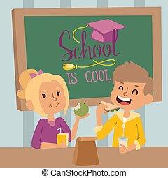 illustration., enfants, classroom., manger ensemble, vecteur, école, classe, eduquer fille, heureux, garçon, sourire, caractères, dessin animé, gosses, déjeuner