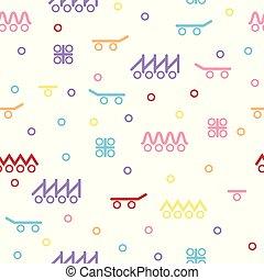illustration., enfants, patin, résumé, seamless, cercles, vecteur, dessin, wheels., couleur