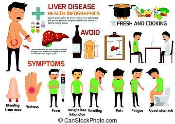 illustration., enfermedad, señal, síntomas, infographics., vector, hígado, disease.