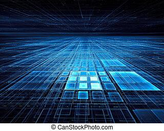 illustration, engendré, bleu, 3d, résumé, -, grille, digitalement, perspective