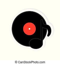 illustration, enregistrement, vecteur, musique, vinyle, icon-